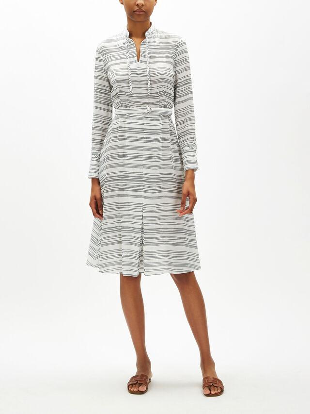 Soft Printed Stripe Shirt Dress