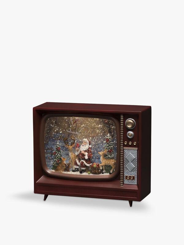 TV with Santa Water Lantern