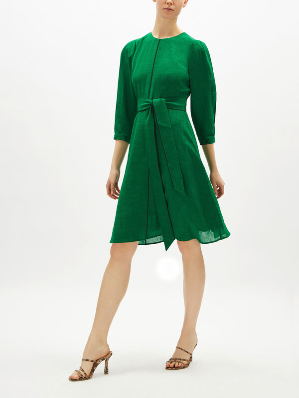 Tie Front Piping Detail Short Dress