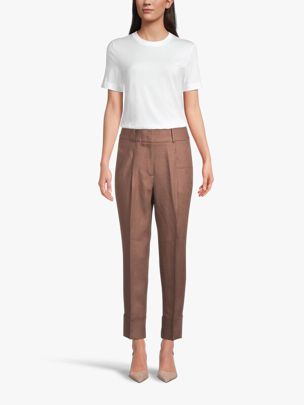 Tapered Linen Turn Up Trouser With Chain Detail