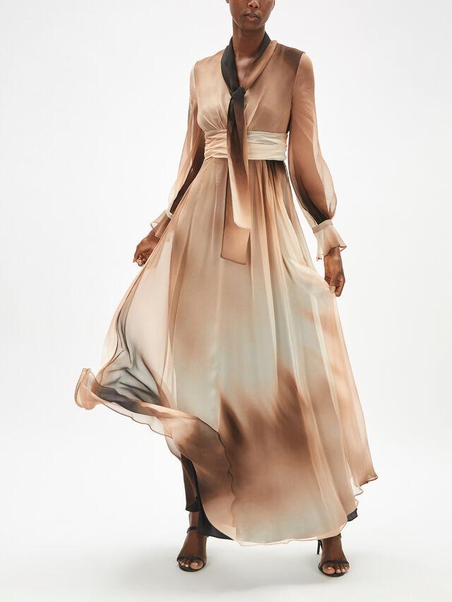 Elfi Long Sleeve Silk Dress With Neck Tie