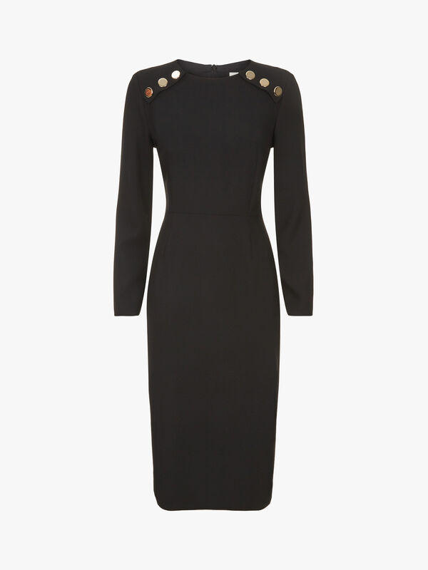 Pencil Dress with Button Detail