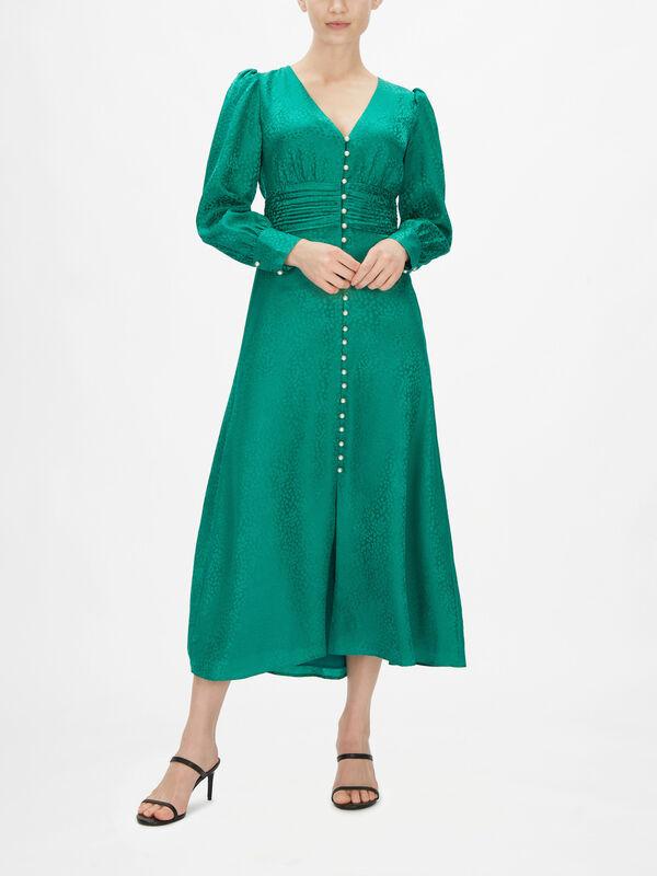 Valentina Pearl Button V-neck Midi Dress