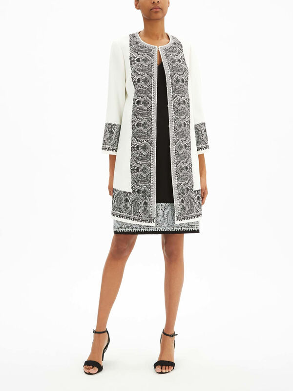 Marta Sculpted Viscose Embroidered Coat