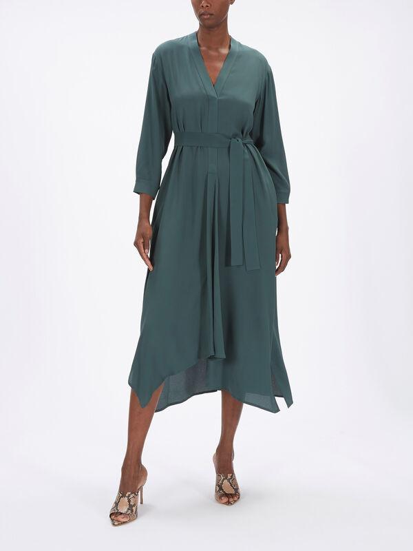 James V Neck Midi Dress w/ Waist Tie