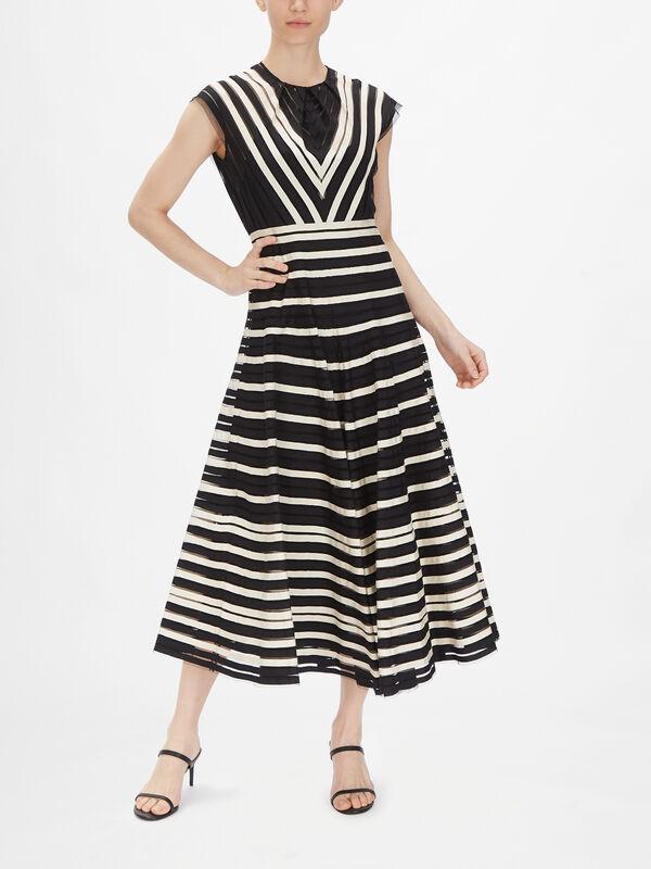 Cap Sleeve Striped Dress