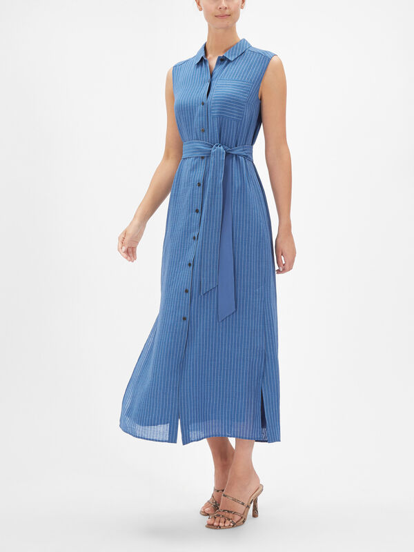 Sleeveless Shirt Dress w/Tie Waist