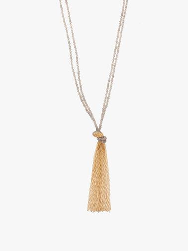 Long Labradorite Chain Tassel Necklace