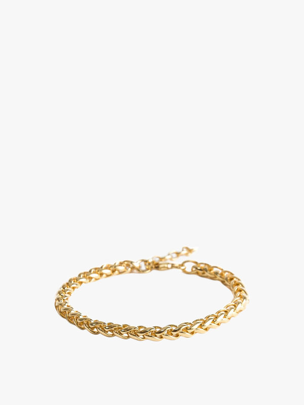 Gold Plated Silver Barrel Chain Bracelet