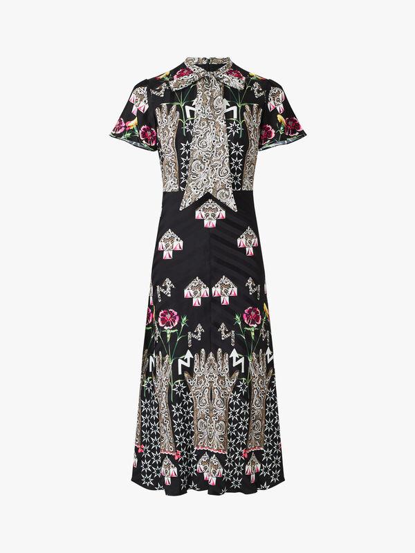 Flux Embroidered Midi Short Sleeve Dress