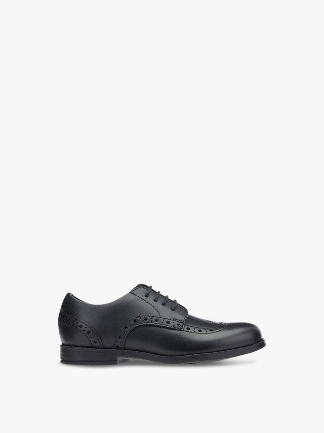 Brogue Snr Black Leather School Shoes