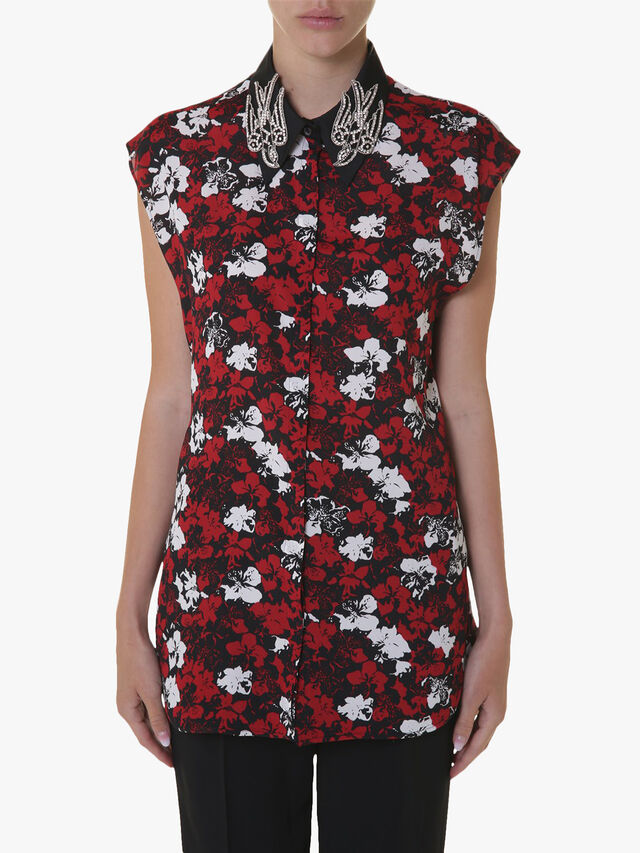 Swallow Embroidered Collar Print Shirt