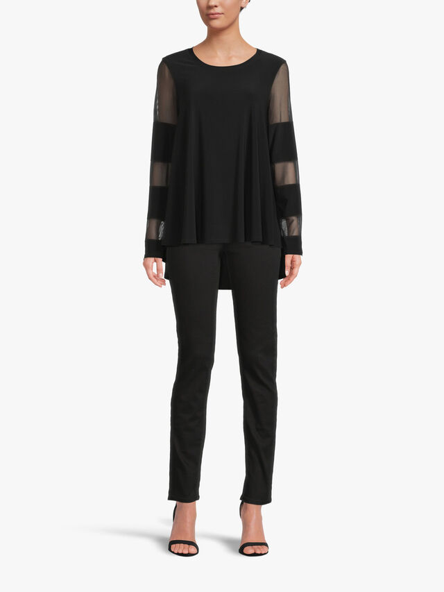 Double Layer Top with Mesh Block Stripe Detail Sleeve