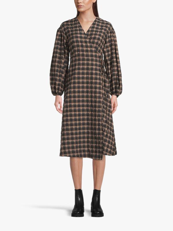 Seersucker Check Wrap Midi Dress