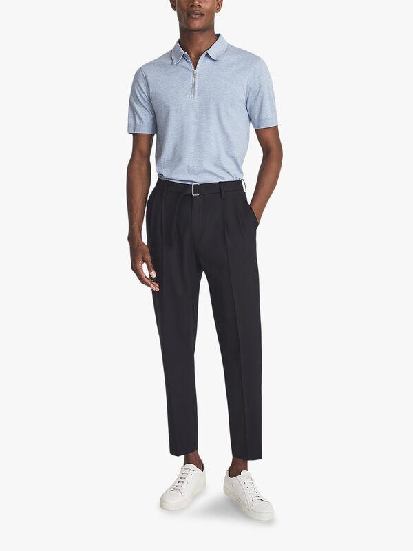 Anthony Self-Start Rib Zip-Neck Polo Shirt
