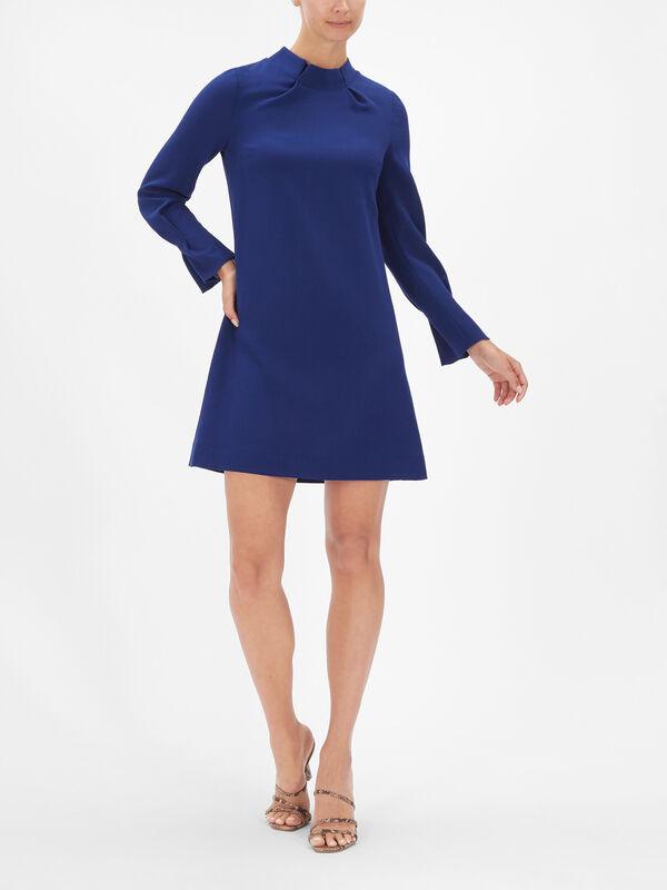 Pleat Collar Cuff Crepe Shift Dress