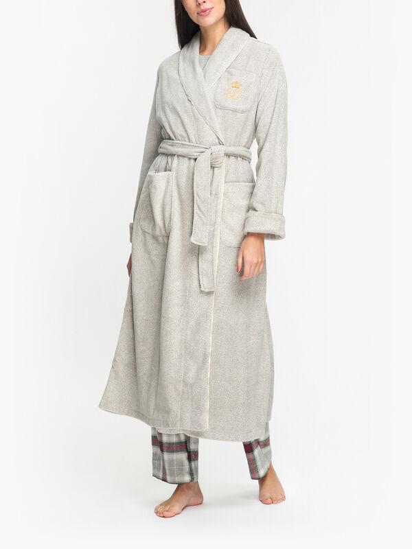 Shawl-Collar Long Fleece Robe