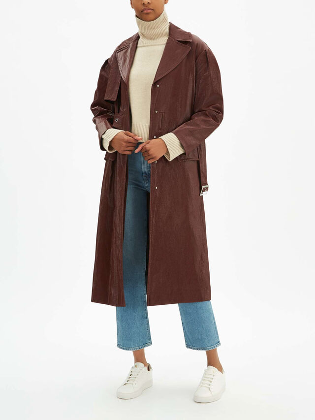 Croydon Burgundy PU Trench Coat