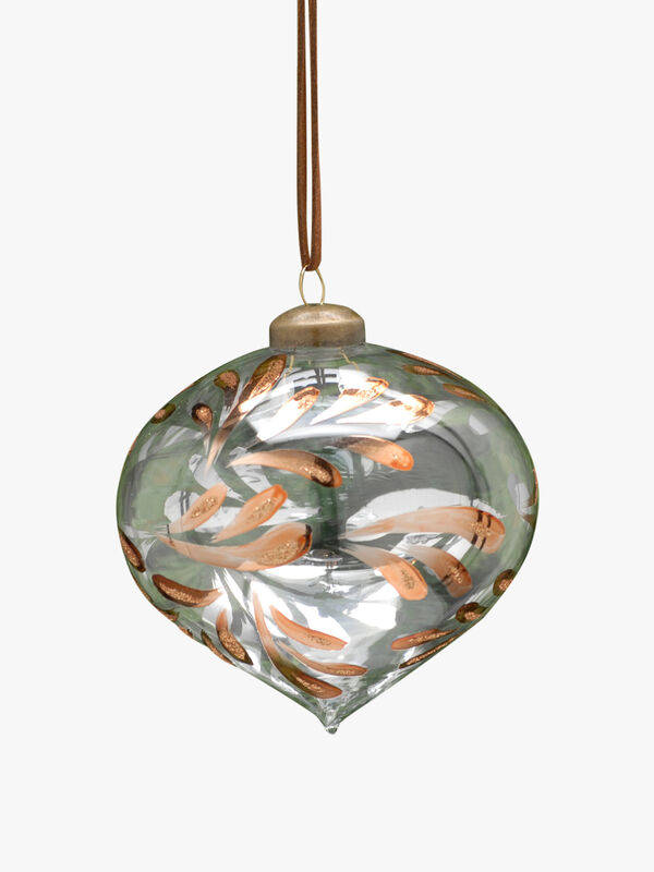 Christmas Onion Bauble With Metallic Leaves