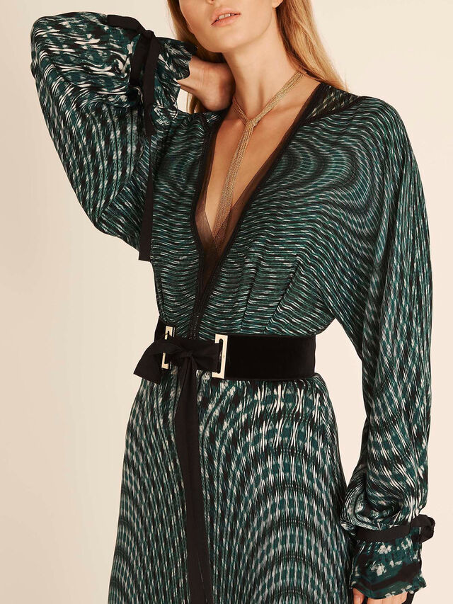Kaleidoscope Print Belted V-Neck Dress