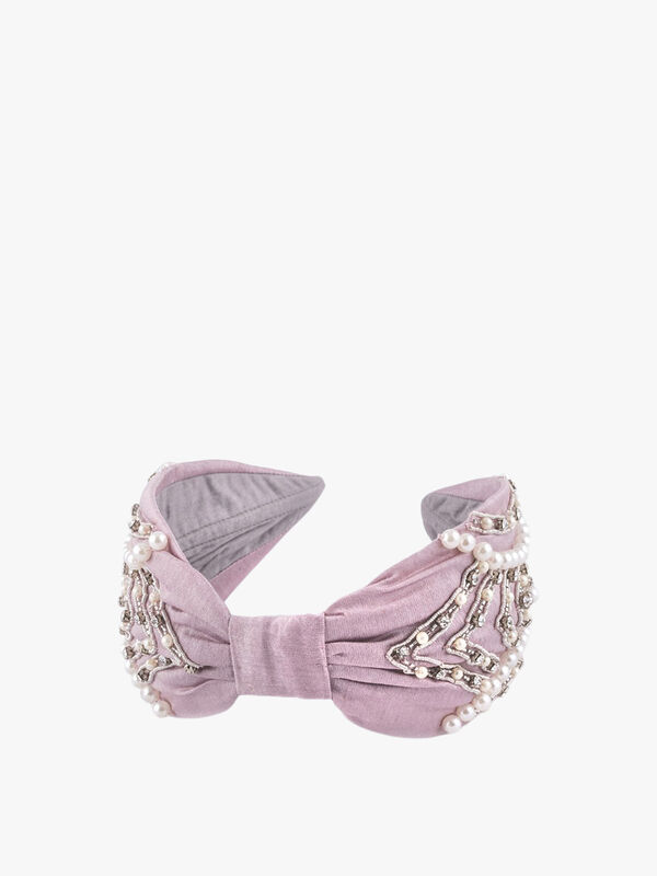 Beaded and Pearl Curved Diamond Headband