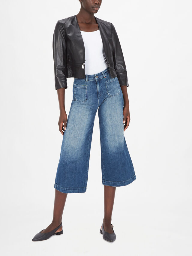 Vita 3/4 Sleeve Leather Blazer