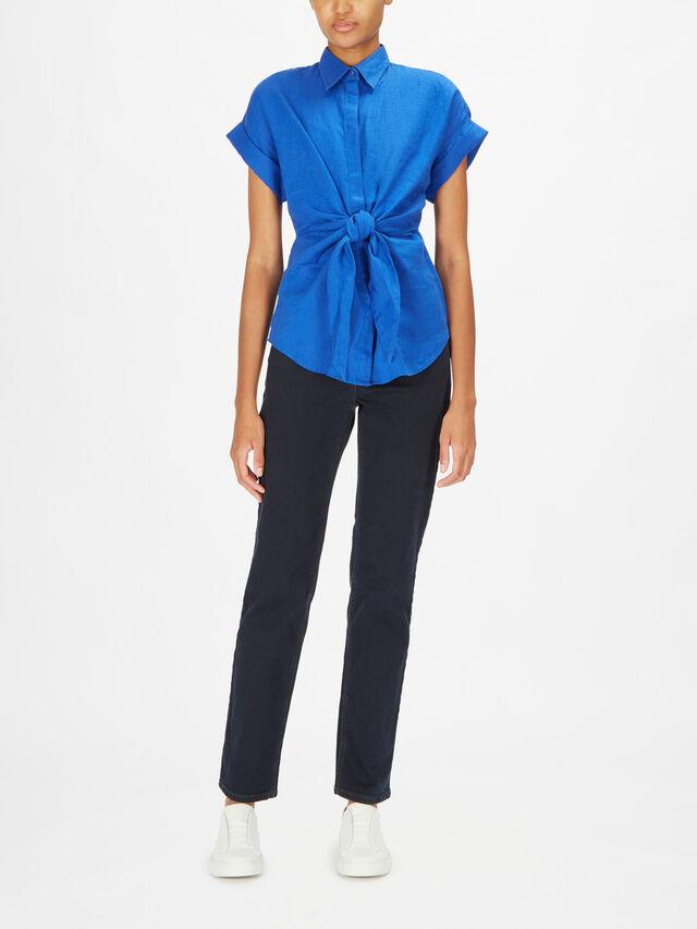 Veanna Linen Shirt With Tie Belt