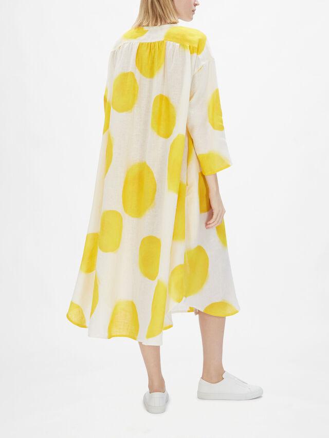 Linen Large Spot Button Through Dress