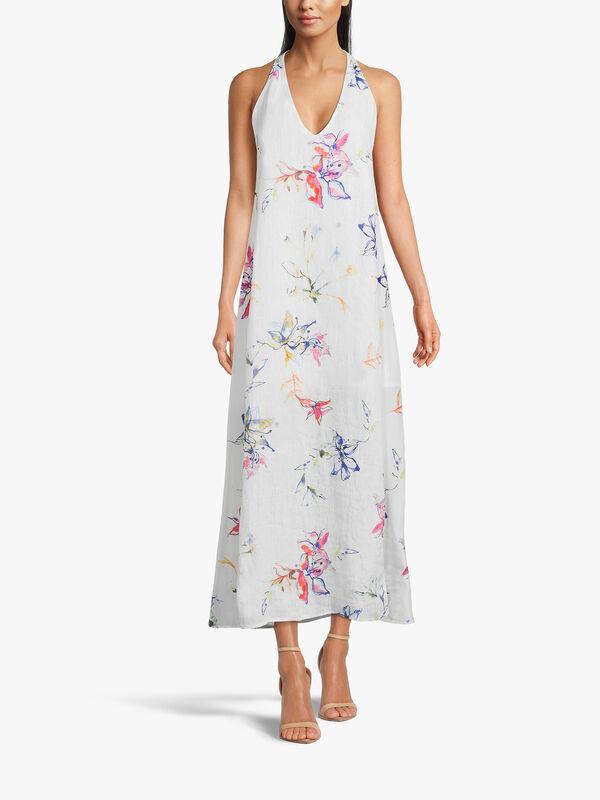 Halter Neck Flower Print Midi Dress
