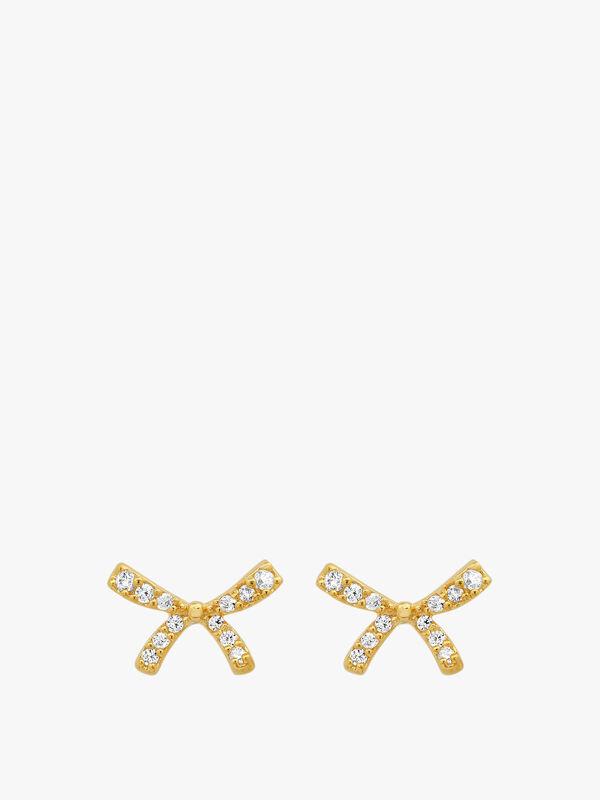 Gold Bow Stud Earrings