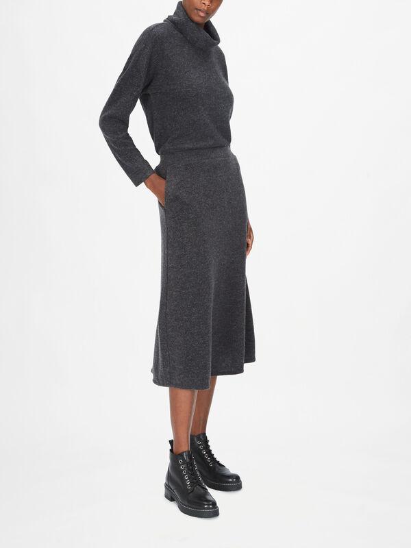 Knitted Pull On Midi Skirt