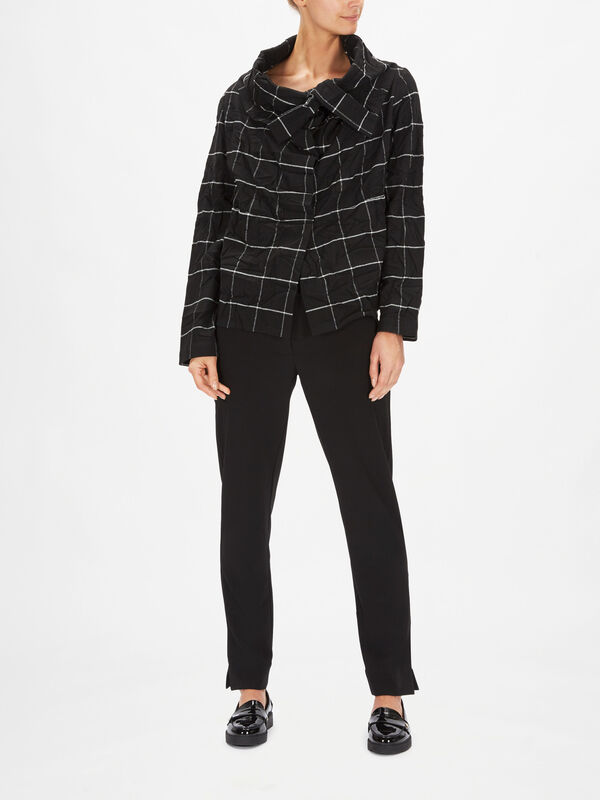 Checked Asymmetrical Front Jacket