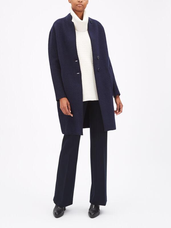 Raised Collar Long Coat