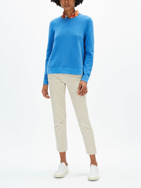 Cotton Pique Crew Neck Knit