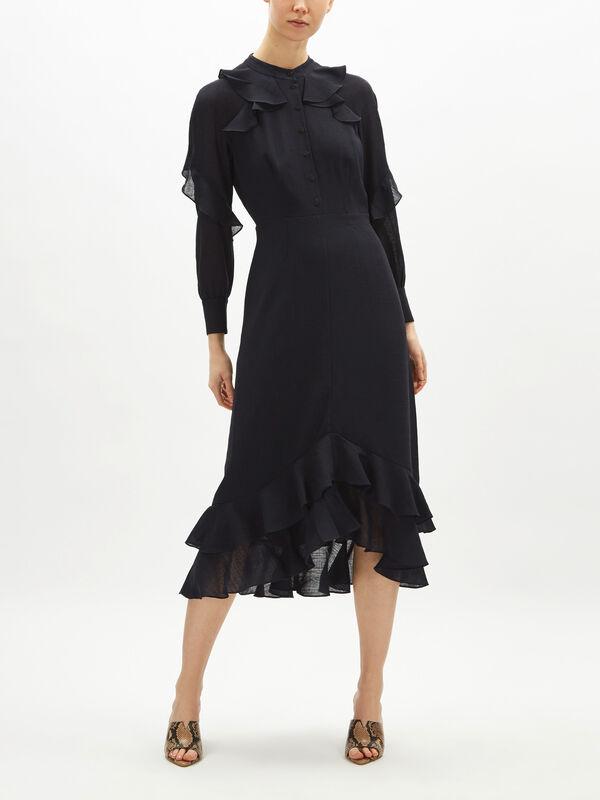 Ruffle Detail Midi Length Dress