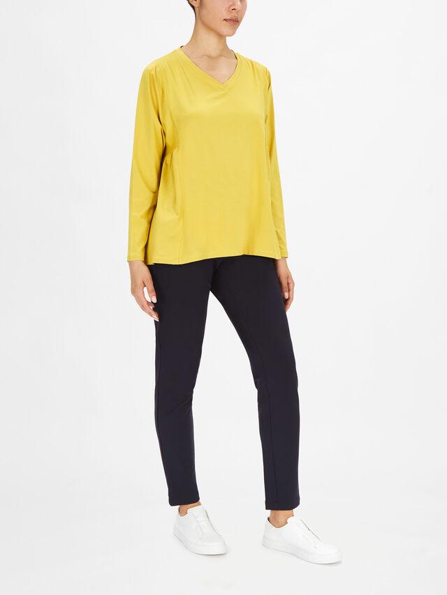 Delsa V Neck Drop Shoulder Long Sleeve Jersey Top
