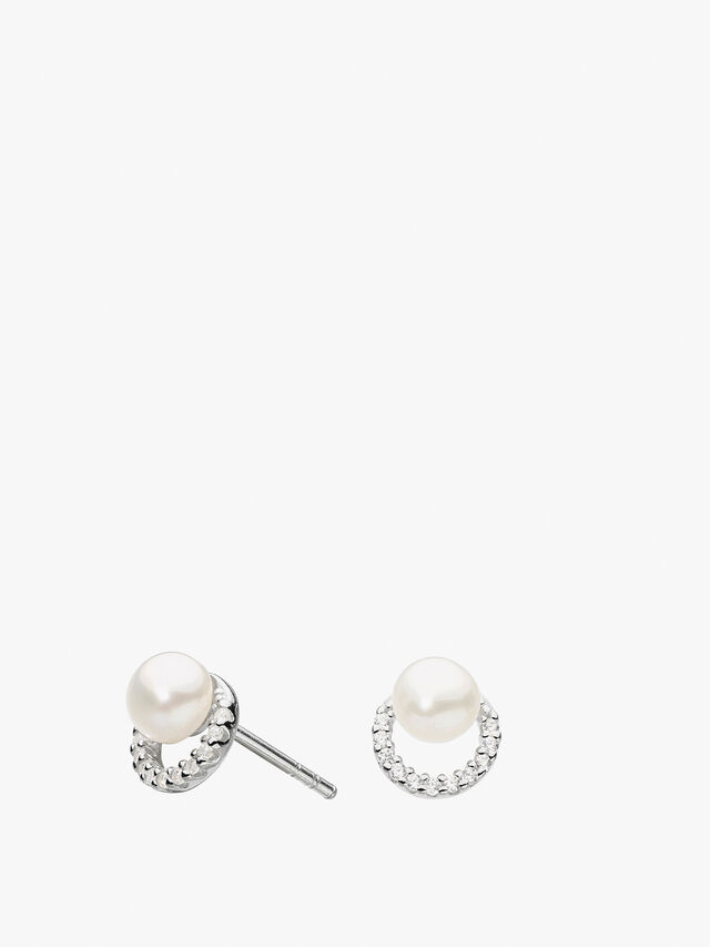 Half Round with Freshwater Pearl Studs