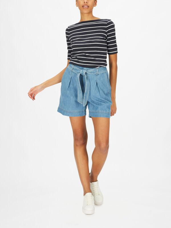 Zaviera Paperbag Denim Shorts
