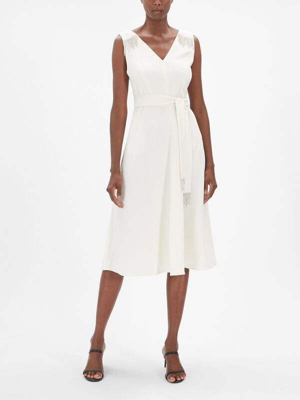 Pablo Sleeveless Belted Midi Dress with Diamante Detail