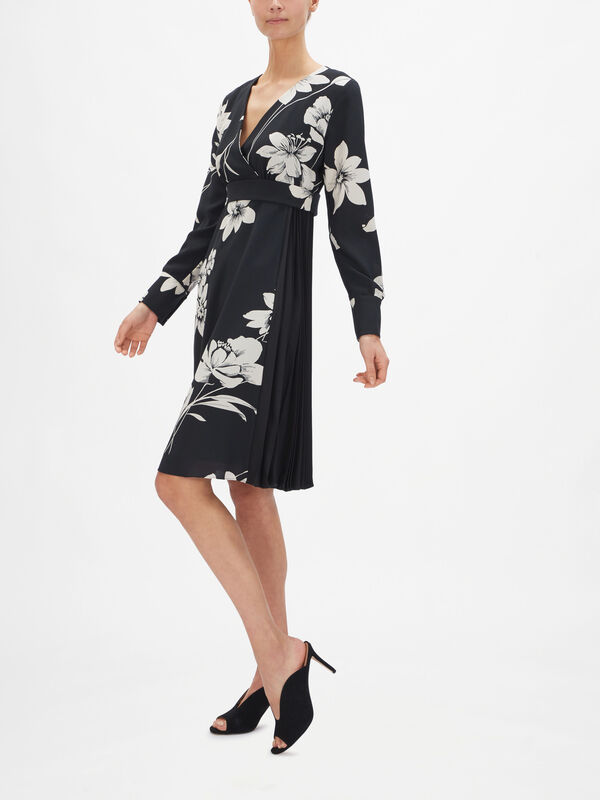 Bonito Silk Printed Dress with Pleat Detail