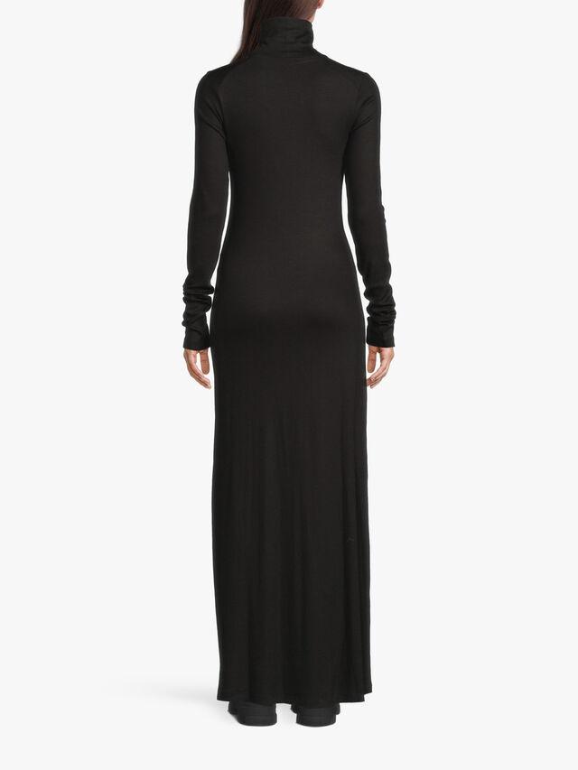 Funnel Neck Jersey Long Sleeve Maxi Dress