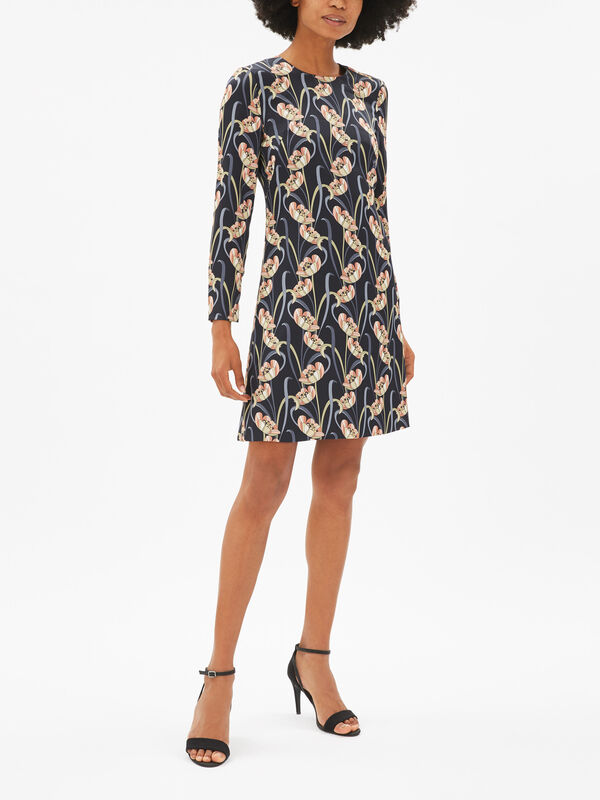 Art Nouveau Print Shift Dress