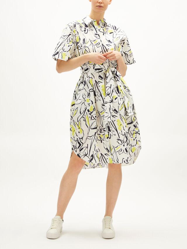 Bunny Print Belted Shirt Dress
