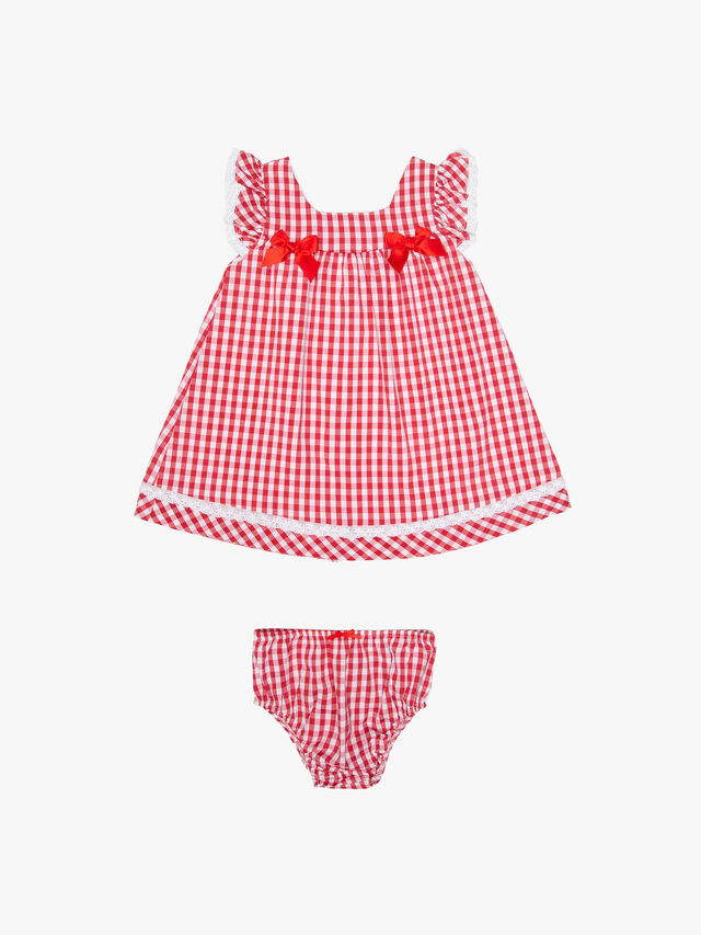 Gingham A-line with Bows Dress