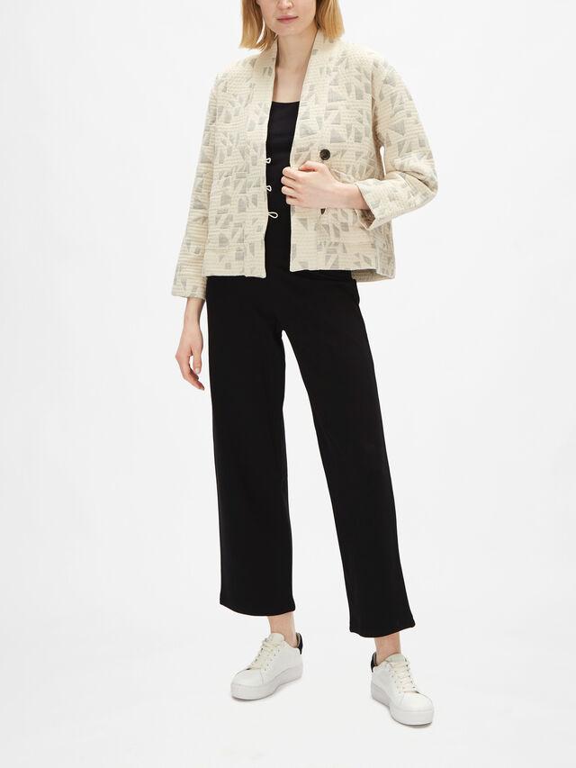 Janna Jacquard Collarless V Neck Jacket with Front Pockets