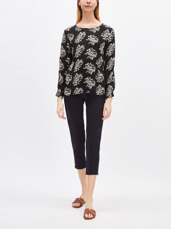 Barka Leaf Print Tie Neck Top