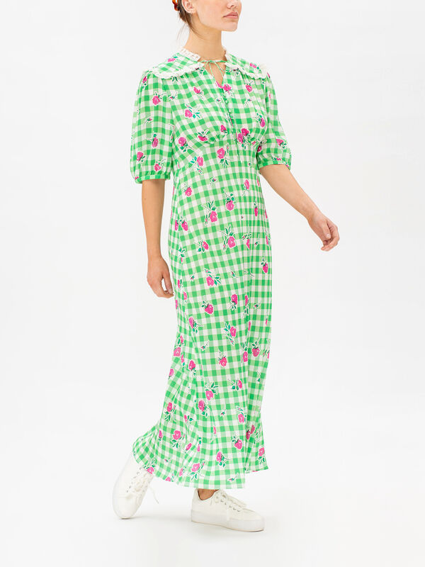 Gwen Floral Gingham Maxi Dress