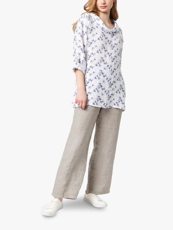 Cowl Neck Print Linen Blouse