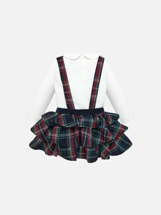 T-Shirt And Ruffled Dungaree Skirt Set