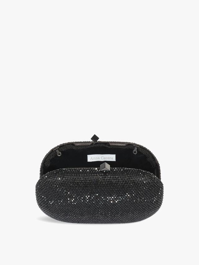 Oval box crystal clutch